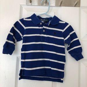 Ralph Lauren blue & white striped LS polo